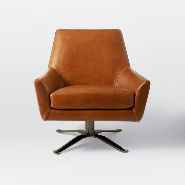 West Elm Lucas Leather Swivel Base Chair