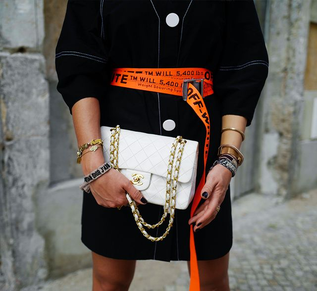 9d62986bab07 Chanel bags  the Classic Flap bag in white and gold hardware on the streets  of