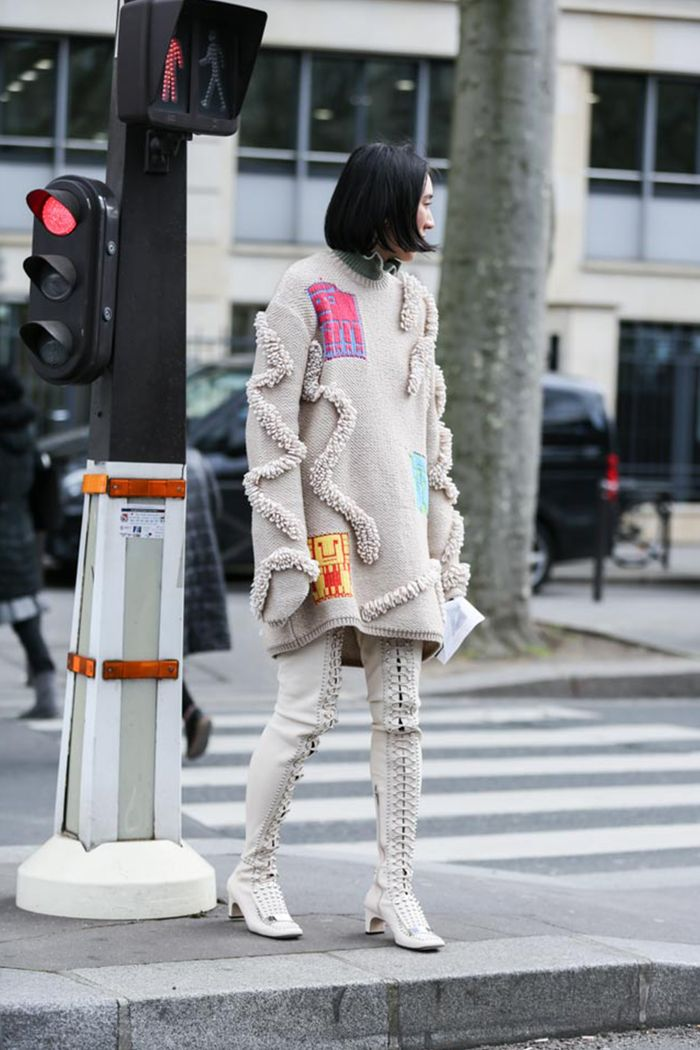 0ea1708a49f 28 Street Style Looks That Will Persuade You Into Wearing Thigh-Highs This  Year. by Hannah Almassi