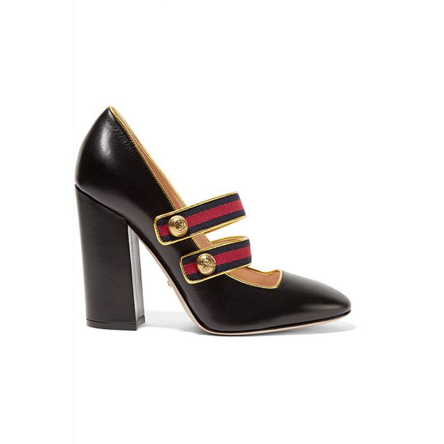 Gucci Embellished Canvas-Trimmed Leather Pumps