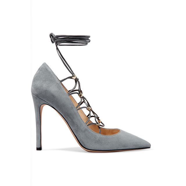Valentino Rockstud Lace-Up Suede and Leather Pumps