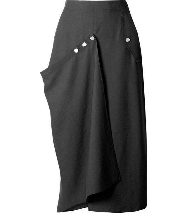 Convertible Draped Woven Midi Skirt