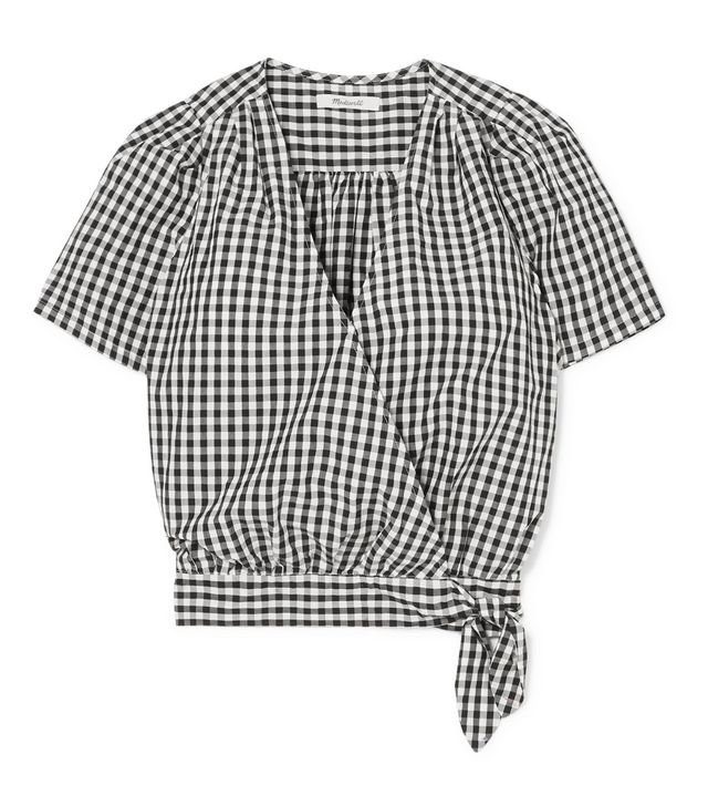 Madewell Gingham Cotton-Poplin Wrap Top
