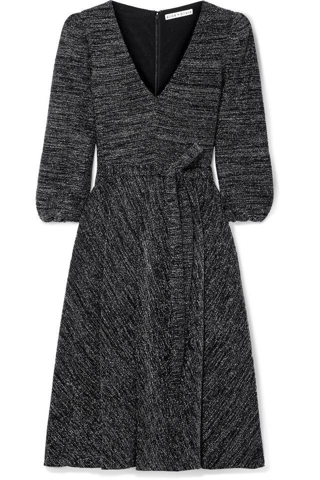 alice + olivia Coco Stretch-lurex Midi Dress