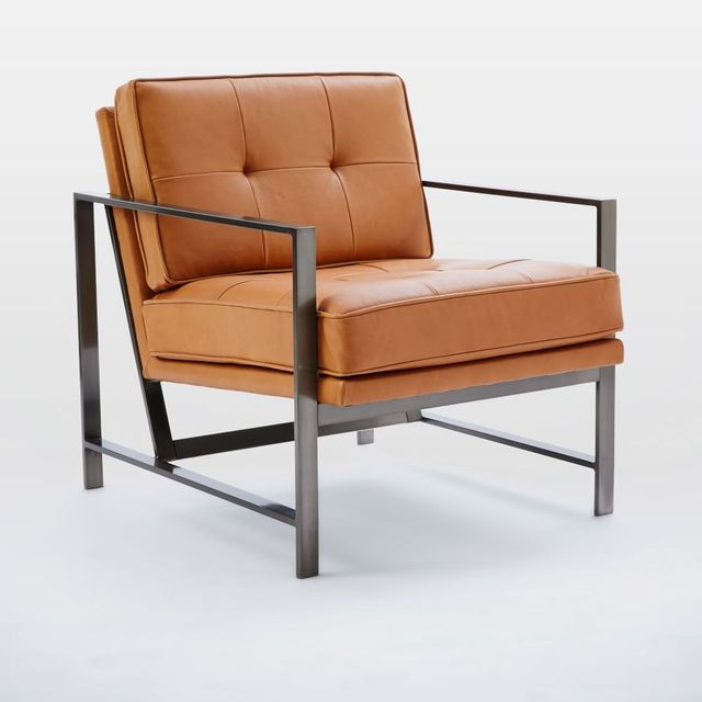 West Elm Metal Frame Leather Chair