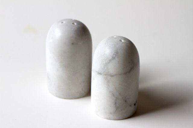 Few and Far Marble Salt and Pepper Shakers