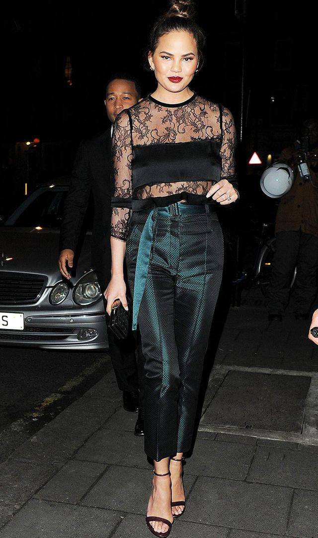 Chrissy Teigen night out outfit idea