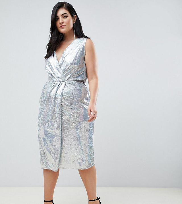 sequin midi wrap dress in silver iridescent