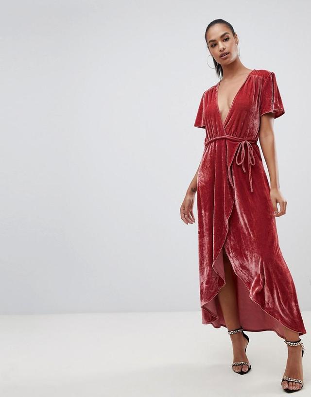 velvet wrap midi dress in pink