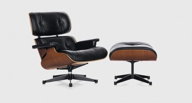Eames Classic Lounge & Ottoman with Black Frame in Black Vicenza Leather