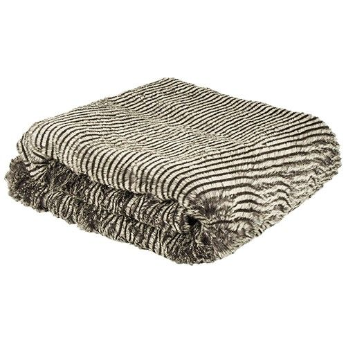 Bambury Faux Fur Throw Rug - Stripe