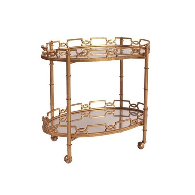 Howard Elliot Collection Two-Tier Metal Bar Cart