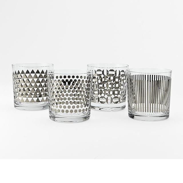West Elm Metallic Print Glassware Set