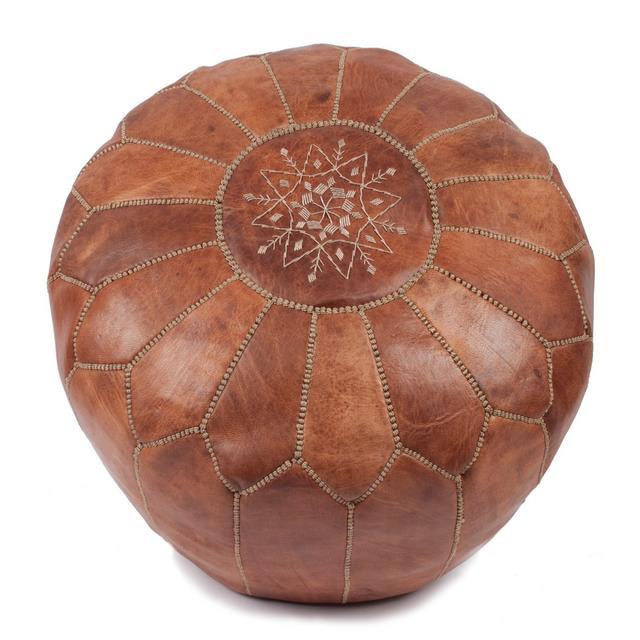 Bohemian Living Moroccan Leather Pouffe - Tan