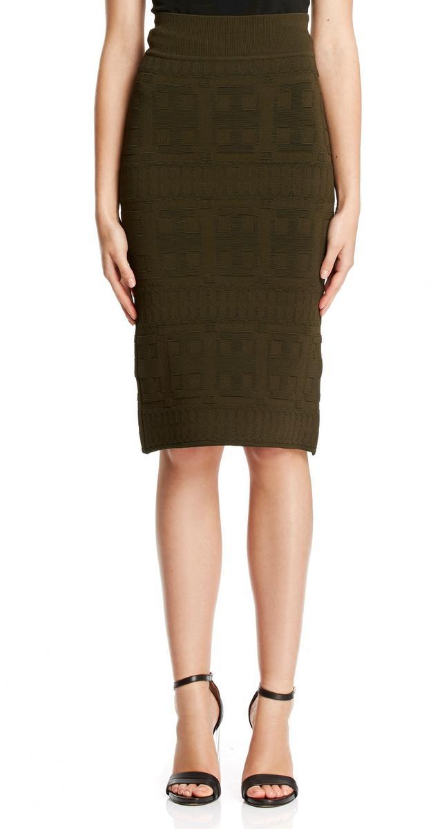 Scanlan Theodore Crepe Knit Brocade Skirt