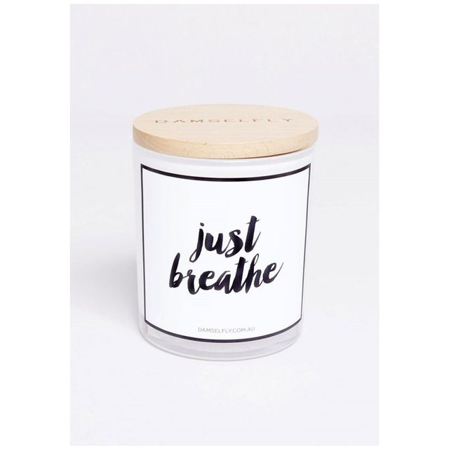 Damselfly Just Breathe Candle