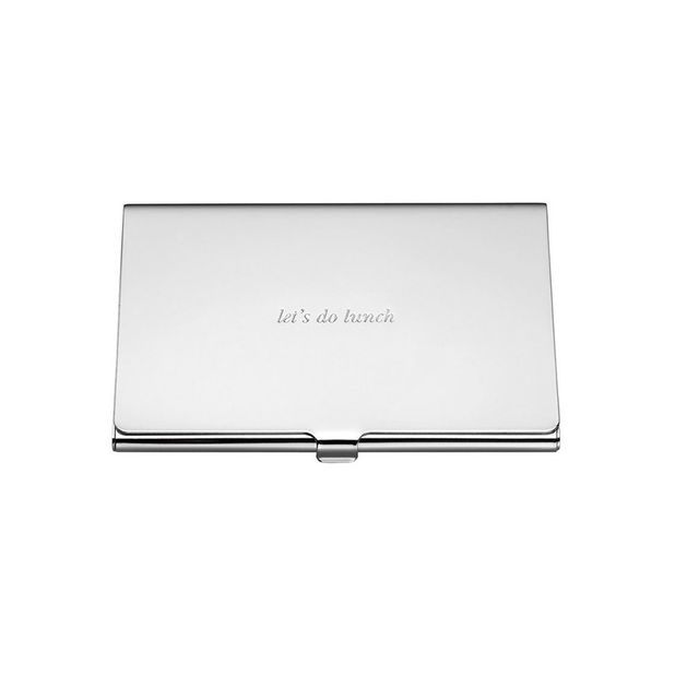 Kate Spade New York Silver Street Business Card Holder 9cm - Let's Do Lunch