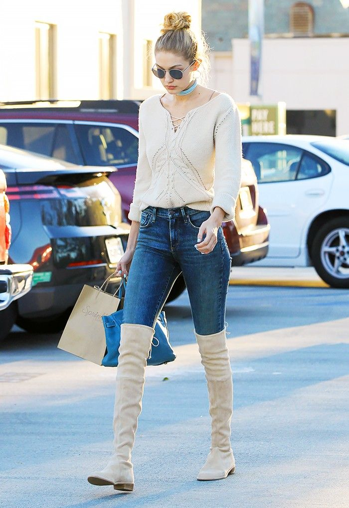 A Celebrity Guide To Wearing Thigh High Boots Who What Wear