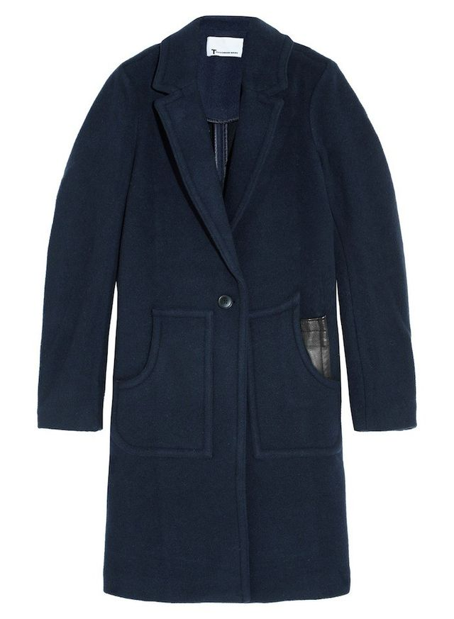 T by Alexander Wang Leather-Trimmed Boiled Wool Coat