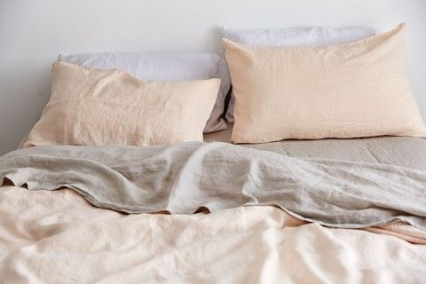 IN BED 100% Linen Duvet Cover in Peach