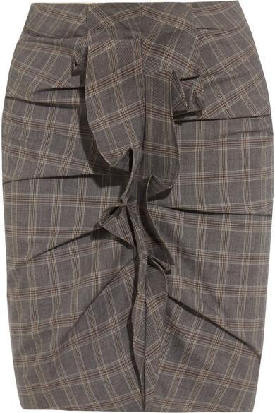 Isabel Marant Noora Ruffled Plaid Stretch-Cotton Skirt