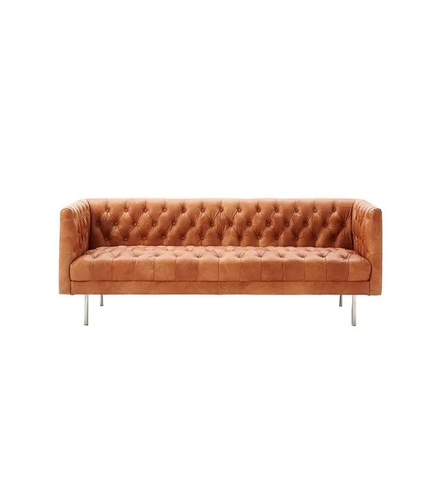 West Elm Modern Chesterfield Leather Sofa