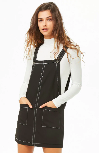 7205bba03f0e Pinterest · Shop · Forever 21 Contrast-Stitch Pinafore Dress ($20).  Available in sizes S to ...