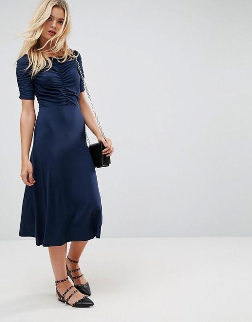 ASOS Midi Tea Dress with Ruching Detail