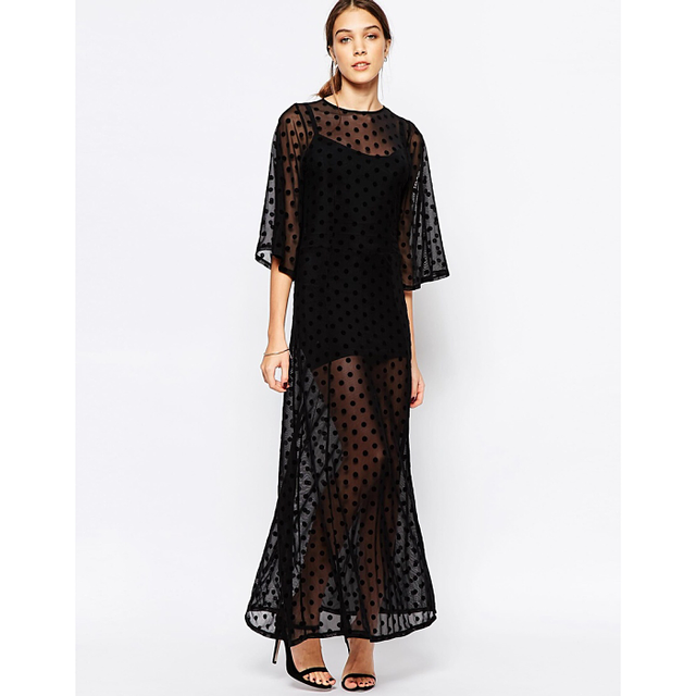 Ganni Sheer Maxi Dress in Mesh Dot