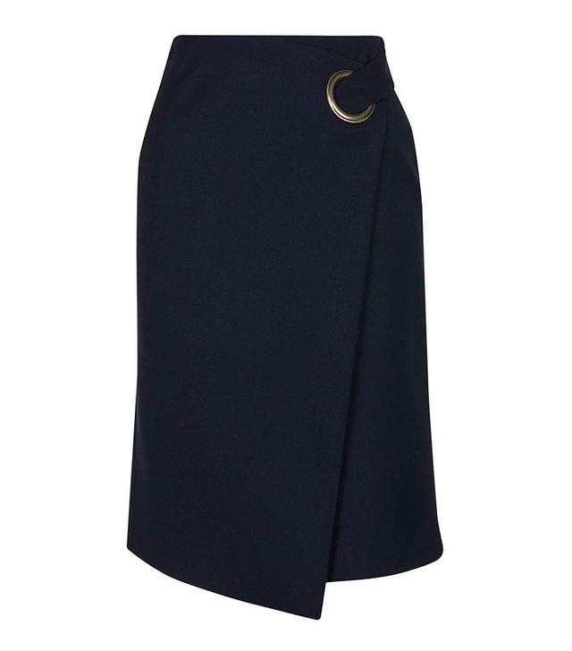 Topshop Premium Wrap Midi Skirt