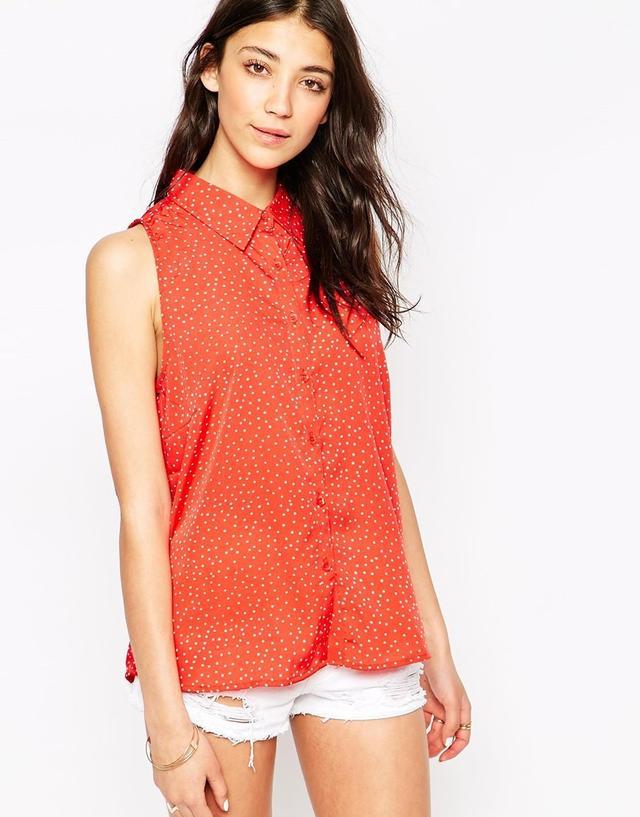 Brave Soul Polka-Dot Print Shirt