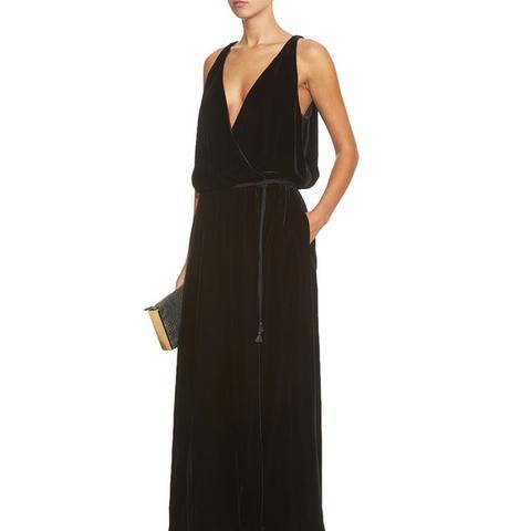 V-Neck Velvet Gown