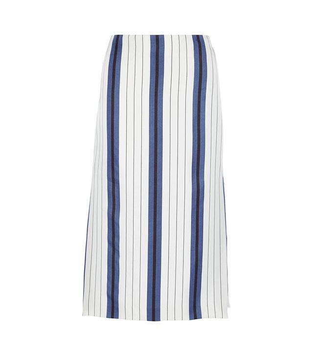 Protagonist Striped Silk-Twill Midi Skirt