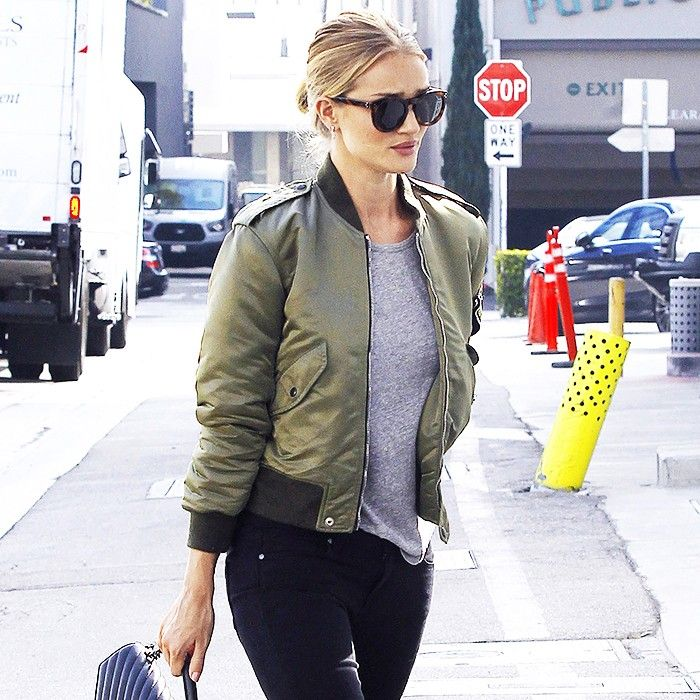 The Best Celebrity Bomber Jacket Outfits Who What Wear