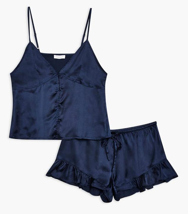 Satin Cami and Frill Short Pyjama Set