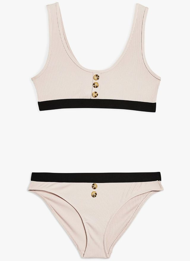 Topshop Button Ribbed Bralet and High Waisted Knickers Set