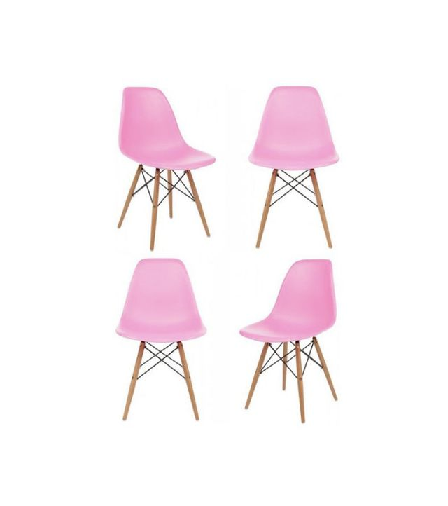 DSW Molded Pink Plastic Dining Shell Chair, Set of 4