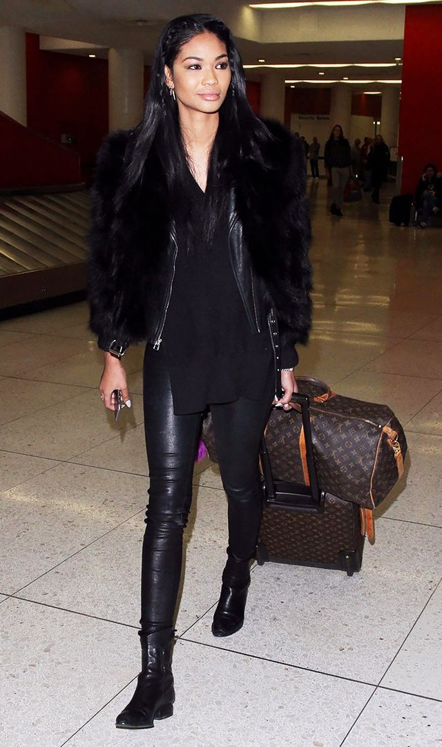 <p>If spandex isn't for you, take a cue from Chanel Iman and opt for slightly dressier leather leggings instead.</p>