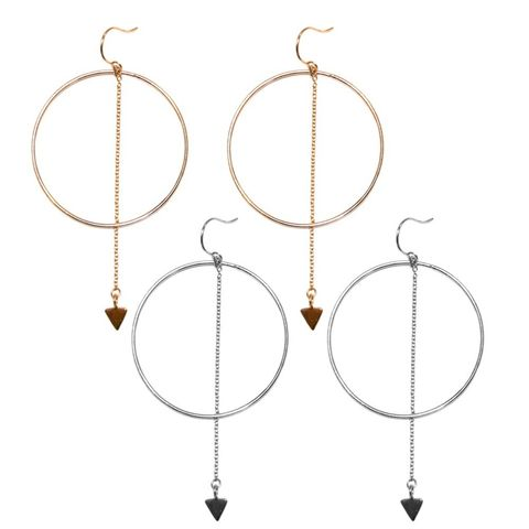 Big Circle and Chain Drop Earrings