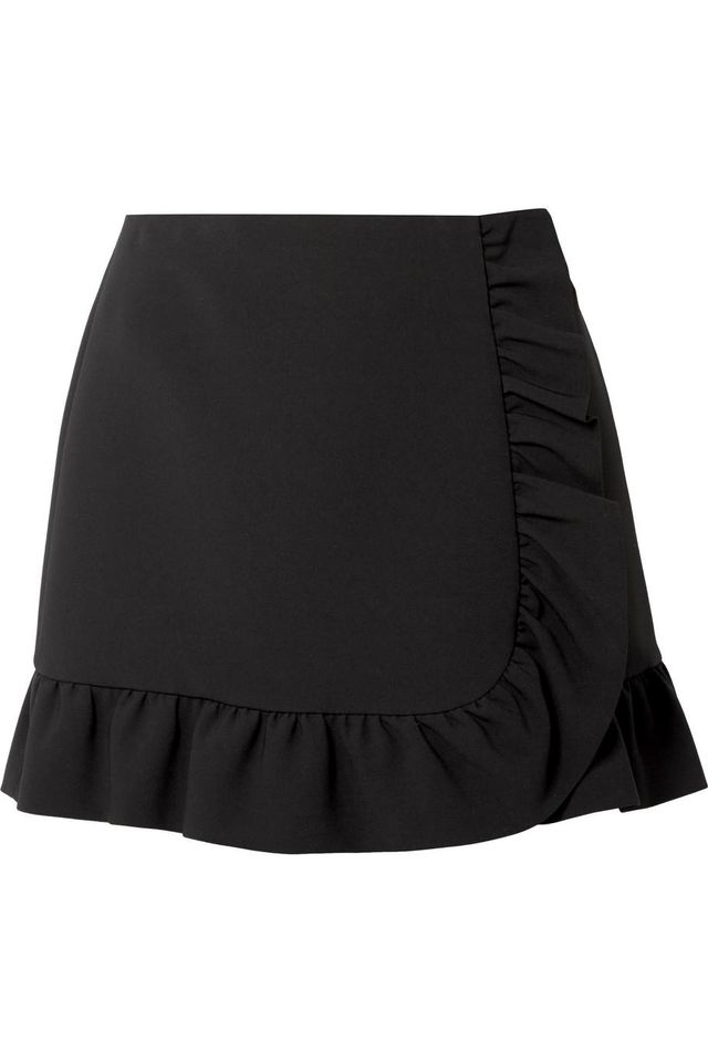 Miu Miu Ruffled Cady Wrap Mini Skirt