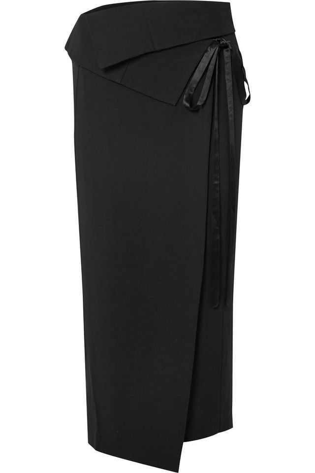 Ann Demeulemeester Layered Crepe Wrap Midi Skirt