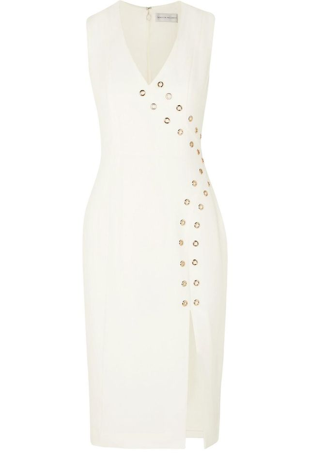 Rebecca Vallance Adriatic Eyelet-Embellished Crepe Midi Dress