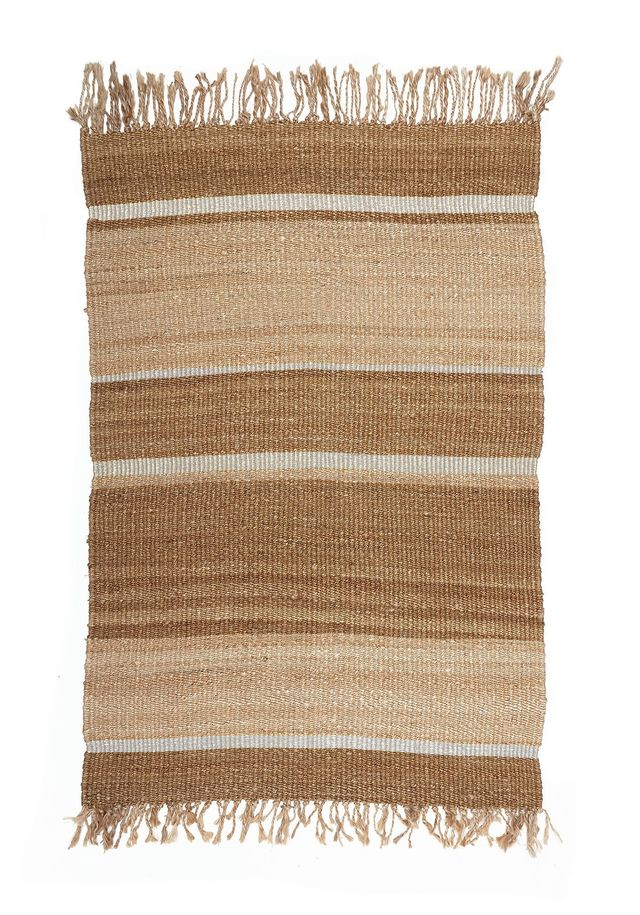 Langdon Ltd Jute and Silver Striped Rug