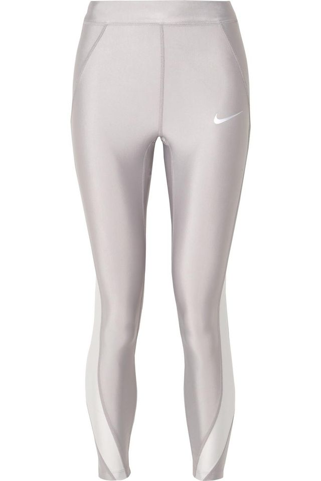 Nike Speed Cropped Paneled Metallic Dri-Fit Stretch Leggings