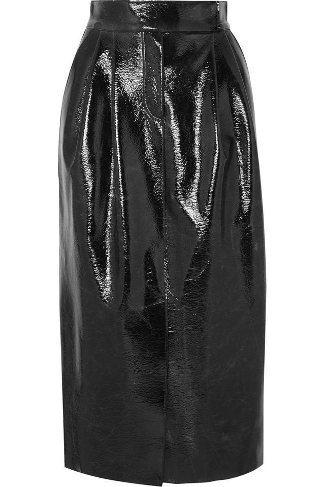 Coated Wool-blend Midi Skirt