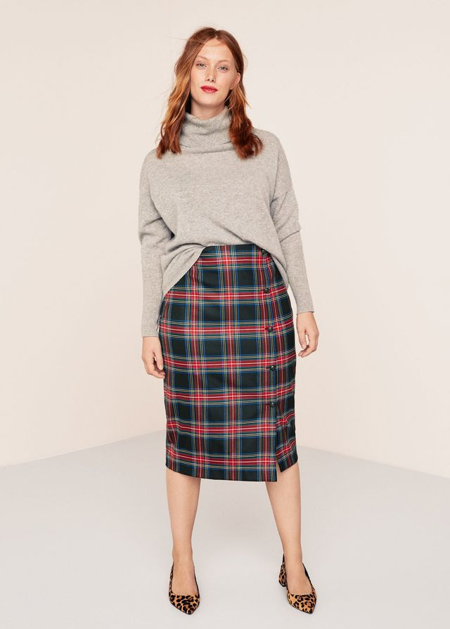 Violeta Buttoned Checked Skirt