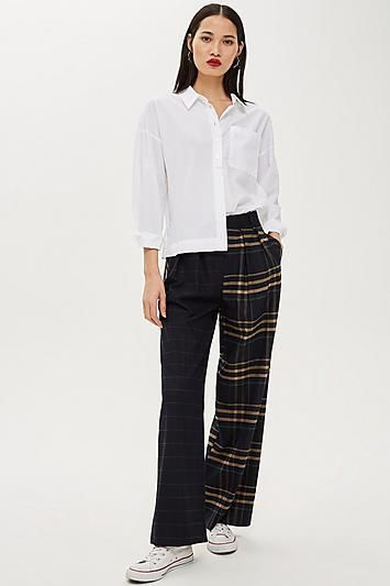 Mixed Check Wide Leg Trousers