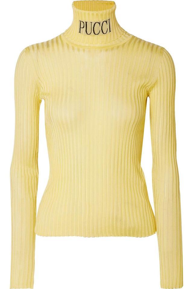 Intarsia Ribbed-knit Turtleneck Sweater