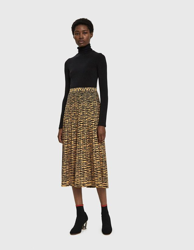 Tiger Jacquard Knit Pleated Skirt