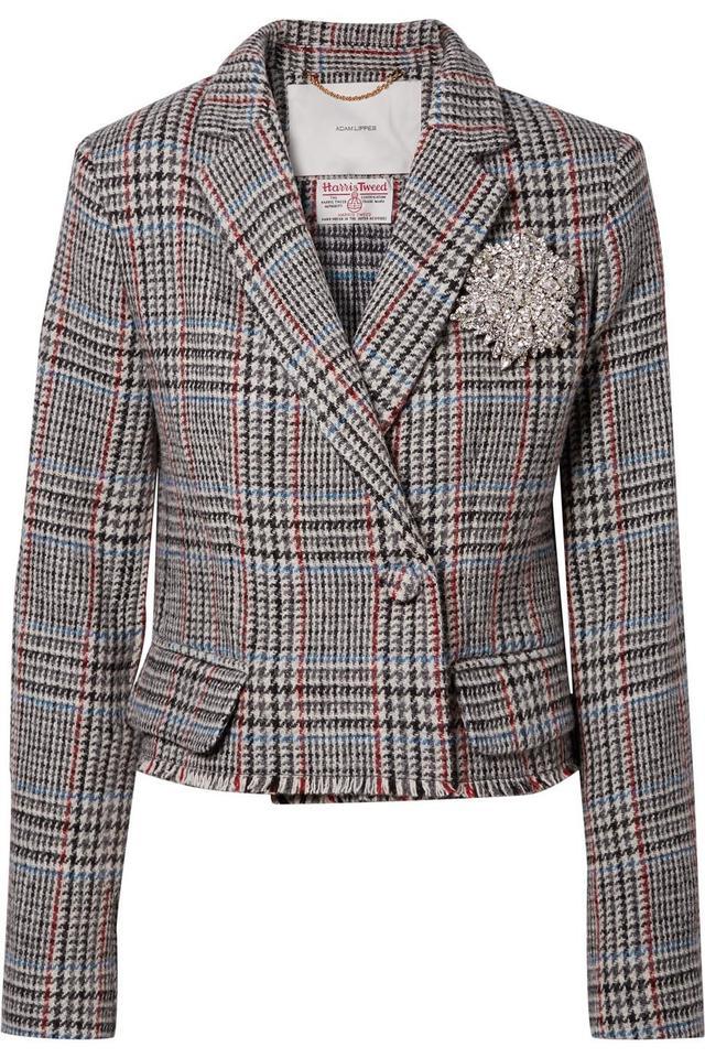 Cropped Embellished Harris Tweed Blazer
